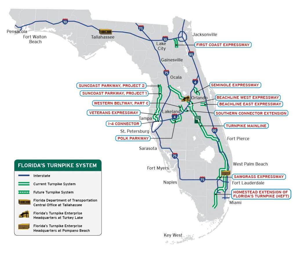 Florida's Turnpike - The Less Stressway - Palm City Florida Map
