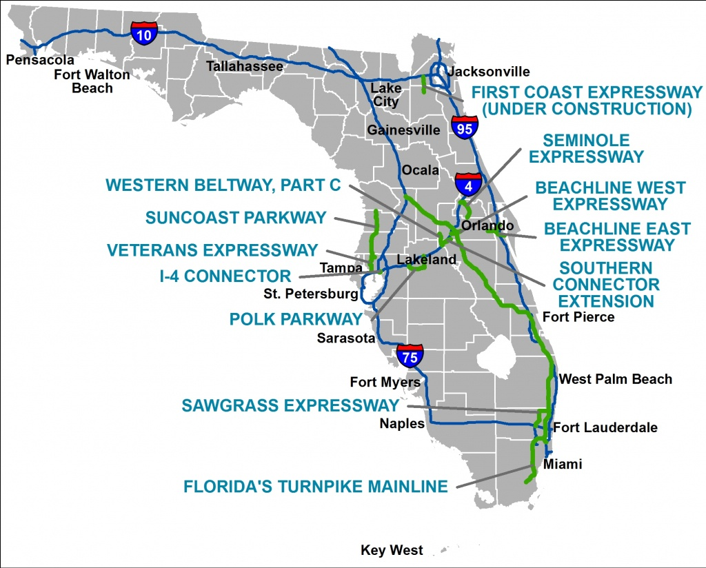 Florida's Turnpike - The Less Stressway - Seminole Florida Map