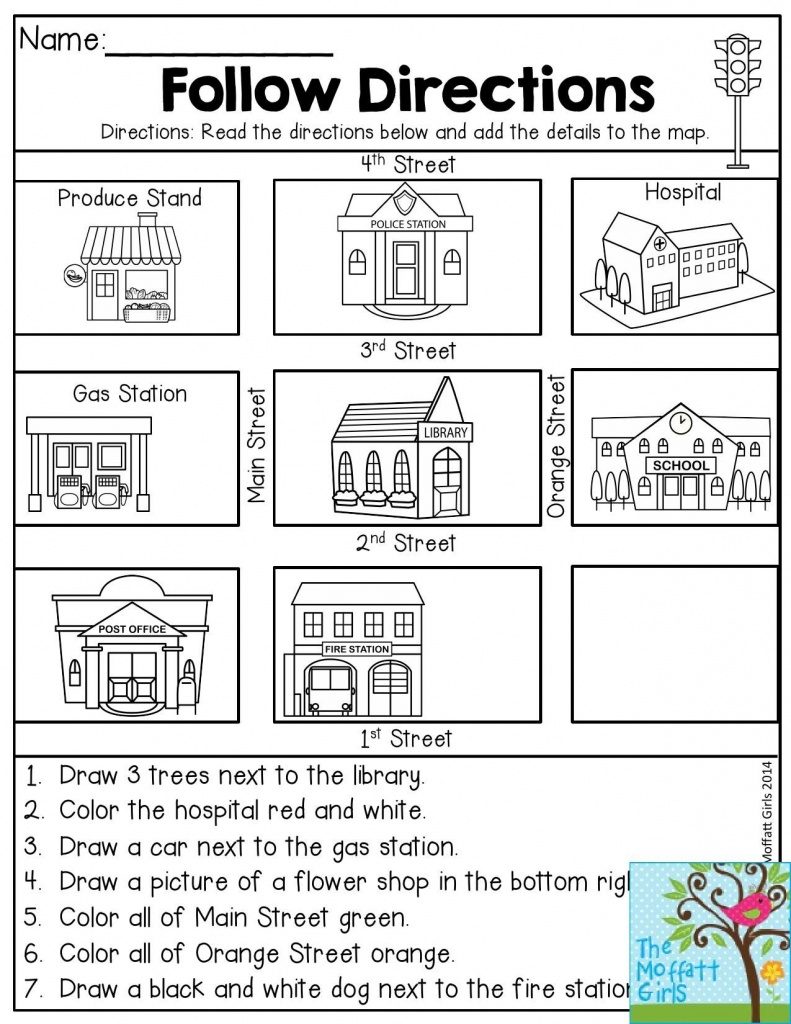 Follow Directions- Read The Directions And Add The Details To The - Printable Map Activities