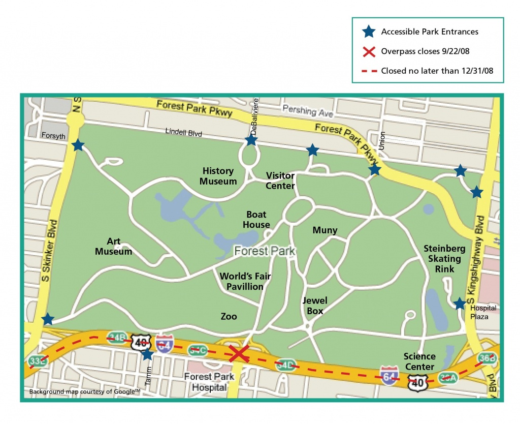 Forest Park St Louis Map And Travel Information | Download Free - Forest Park St Louis Map Printable