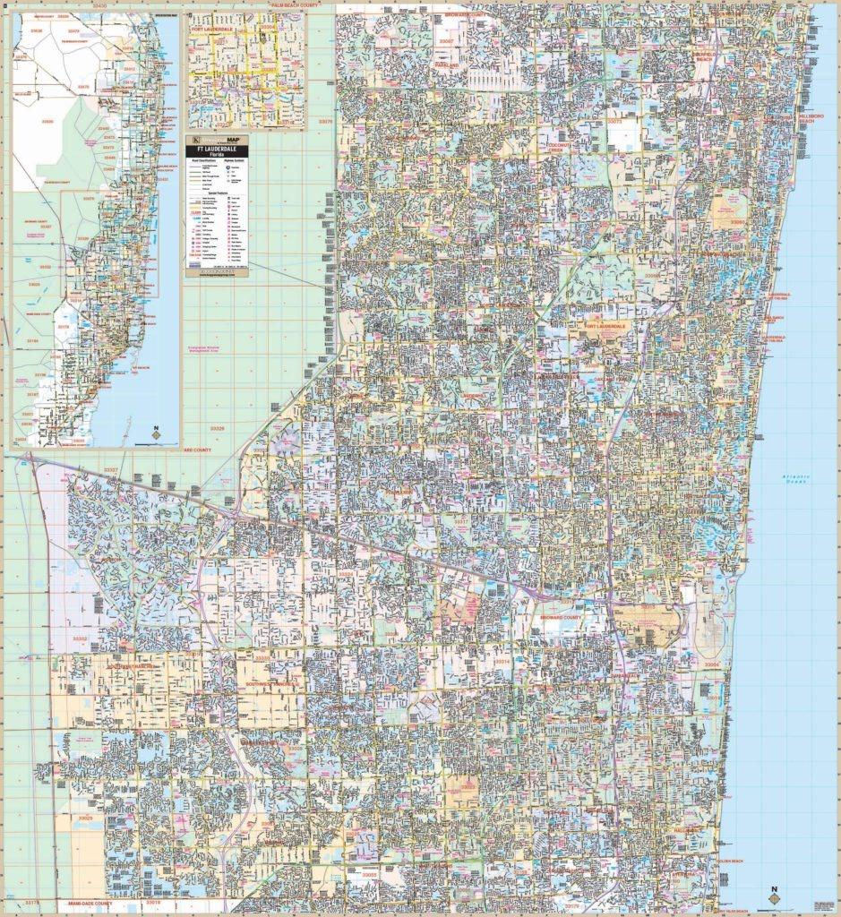 Fort Lauderdale & Broward Co, Fl Wall Map – Kappa Map Group - Street Map Of Fort Lauderdale Florida