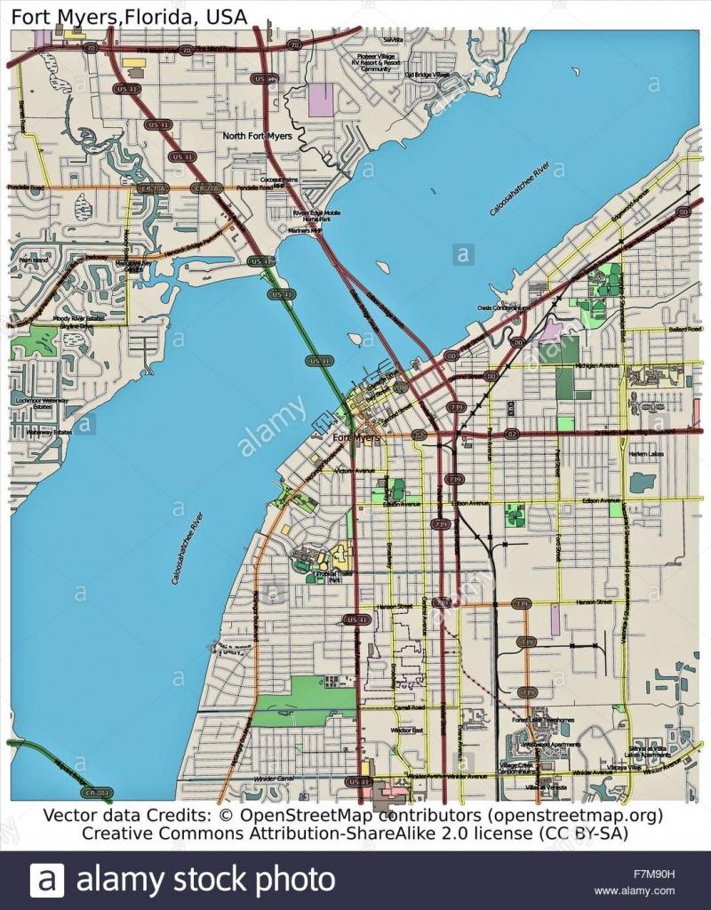 Fort Myers Florida Usa City Map Stock Photo: 90800545 - Alamy - Fort Meyer Florida Map