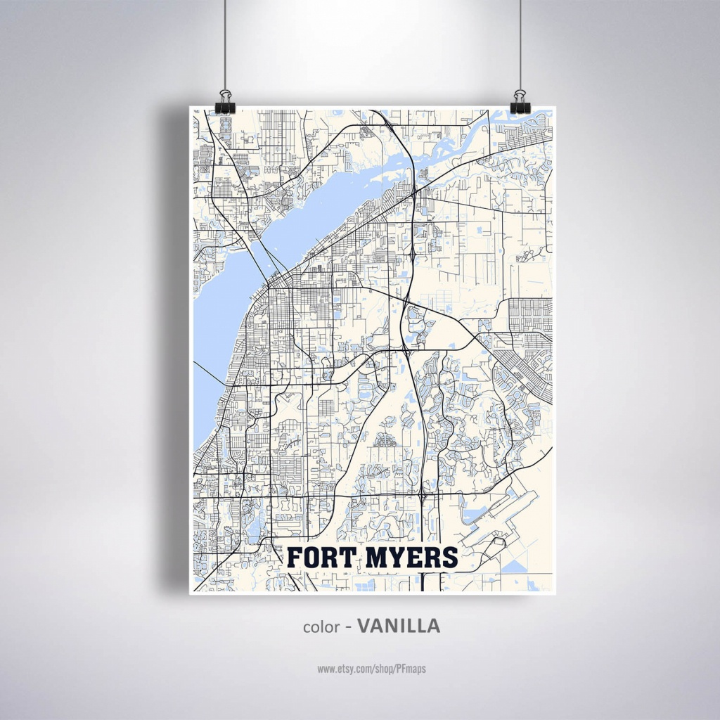 Fort Myers Map Print, Fort Myers City Map, Florida Fl Usa Map Poster, Fort  Myers Wall Art, City Street Road Map - Street Map Of Fort Myers Florida