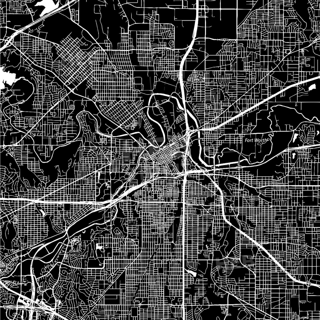 Fort Worth, Texas, Downtown Map, Dark | Hebstreits Sketches - Map Of Downtown Fort Worth Texas