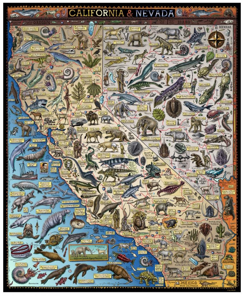 Fossil Map Of California & Nevada - Troll Art - Map Of California And Nevada