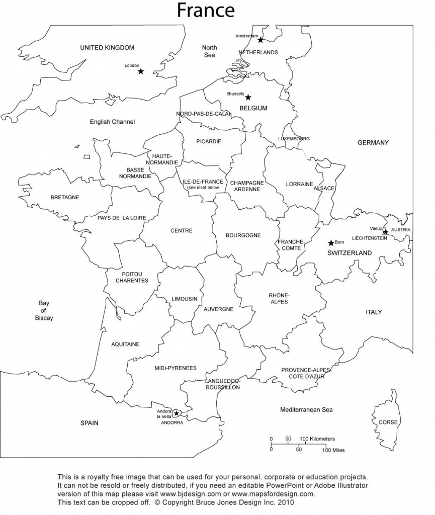 France Blank Printable Map With Provinces, Royalty Free, Clip Art - Printable Map Of France