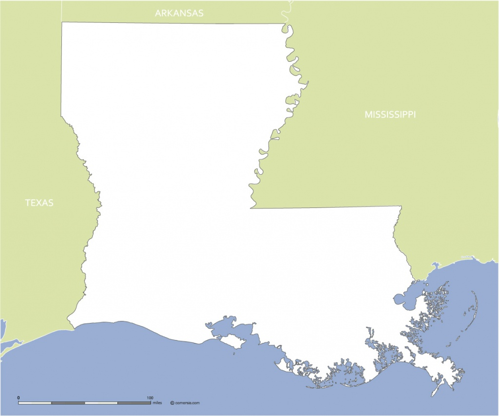 Free Blank Map Of Louisiana Us State - Texas Louisiana Border Map