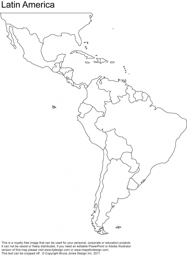 Free Blank Map Of North And South America   Latin America Printable - South America Outline Map Printable