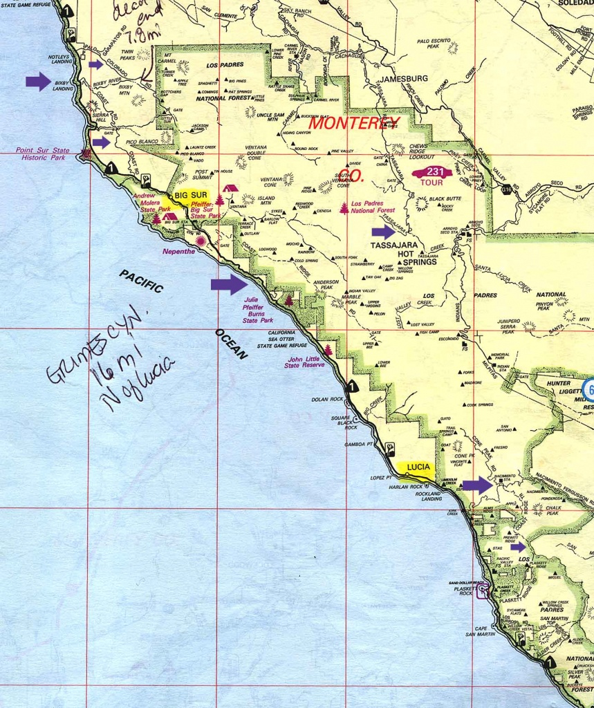 Free Camping Socal, Los Padres National Forest, Mt Pinos Campgrounds - Camping Central California Coast Map