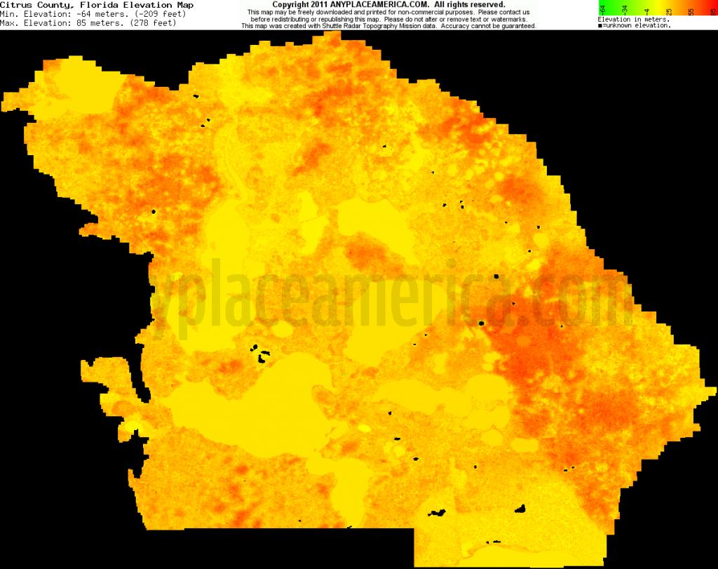 Free Citrus County, Florida Topo Maps & Elevations - Florida Elevation Map By County