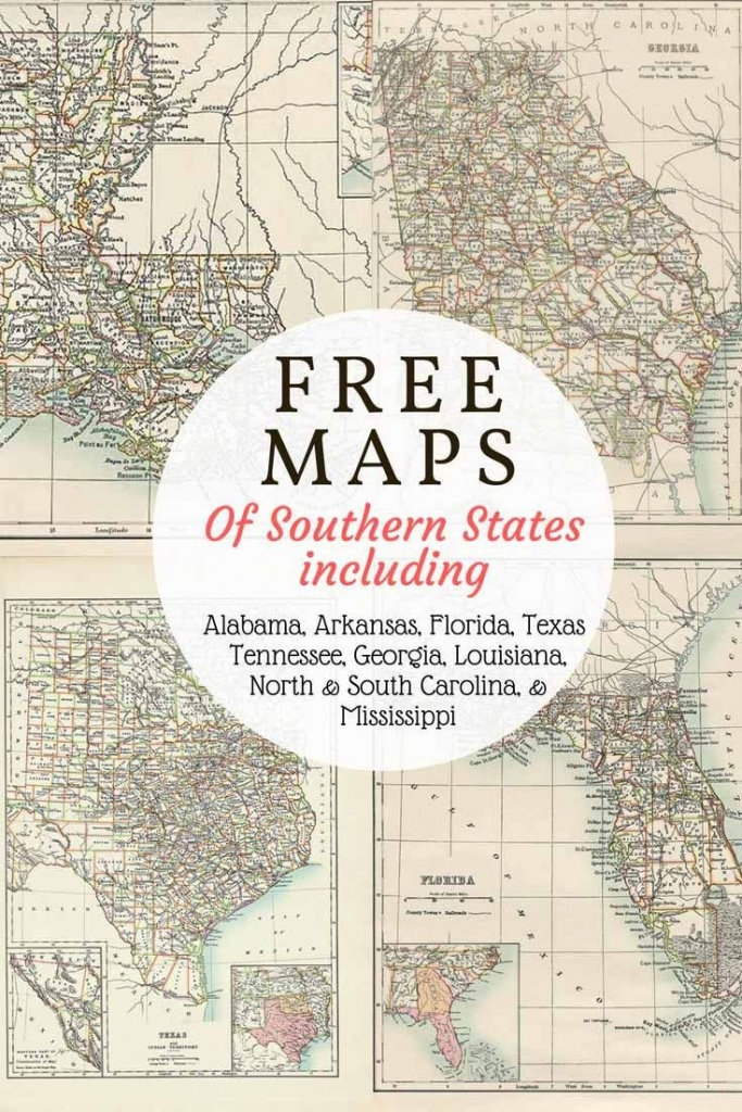 Free Downloadable Southern Usa State Maps From 1885. Includes Old - Free Old Maps Of Texas