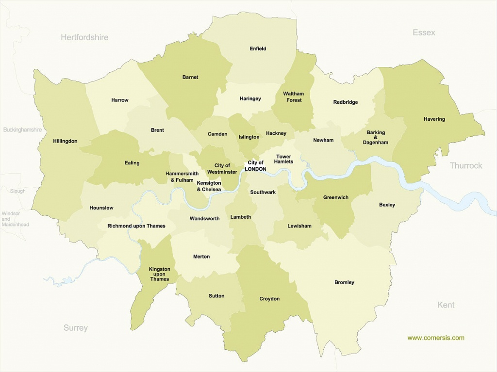 Free Map Of Greater London Boroughs With Names - Printable Map Of London Boroughs