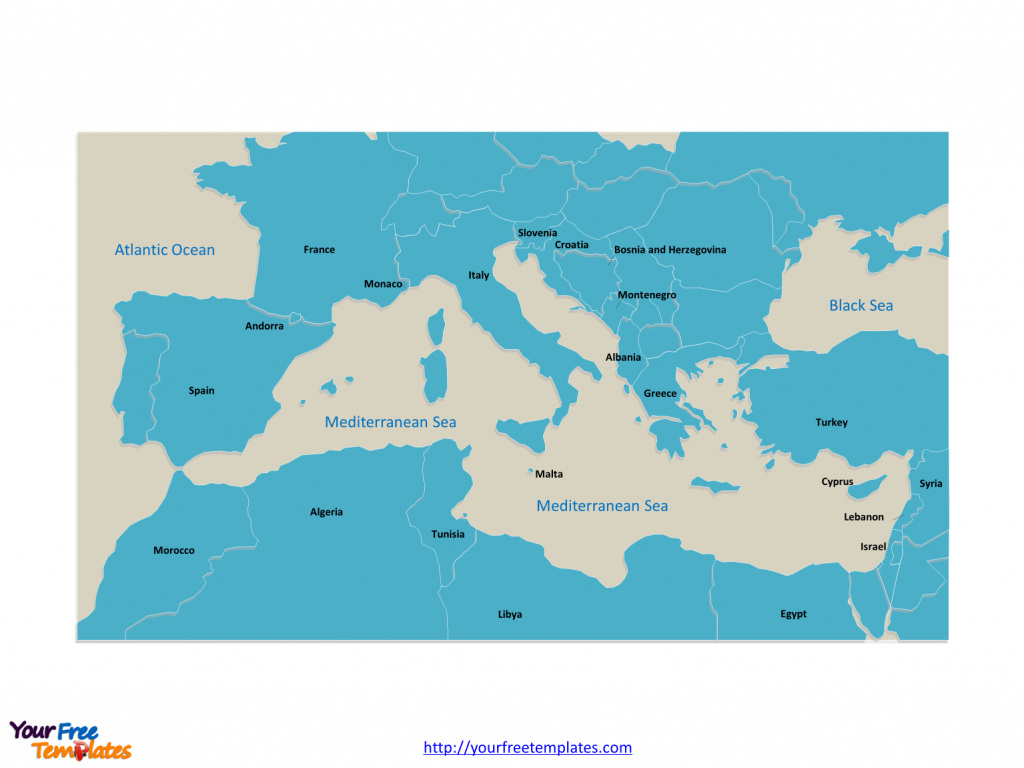 Free Mediterranean Sea Editable Map - Free Powerpoint Templates - Printable Map Of The Mediterranean Sea Area