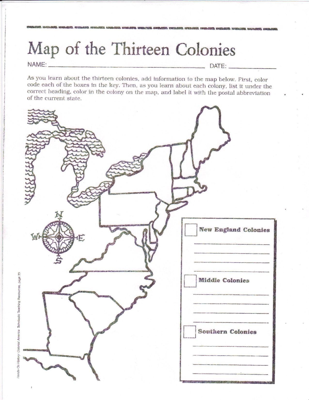 graphic regarding Printable Map of New England called 13 Colonies Blank Map Printable Printable Maps
