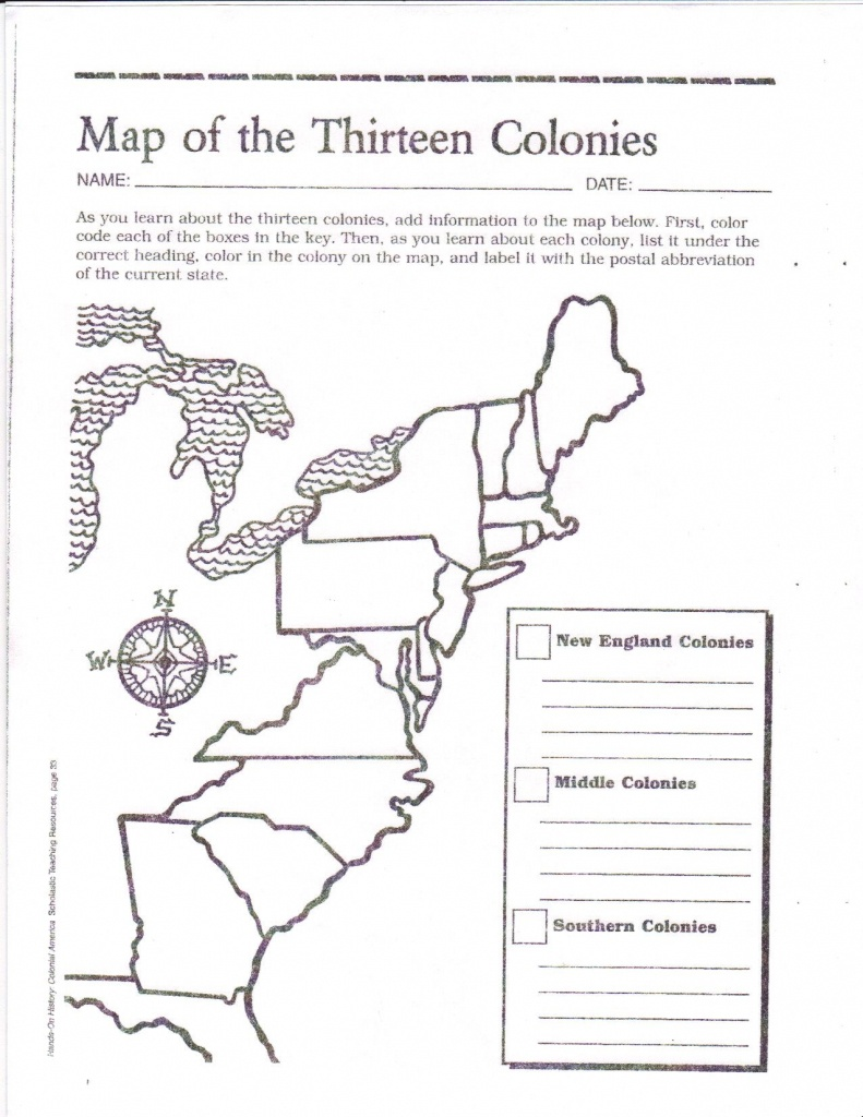 Free Printable 13 Colonies Map … | Activities | 7Th G… - Map Of The 13 Original Colonies Printable