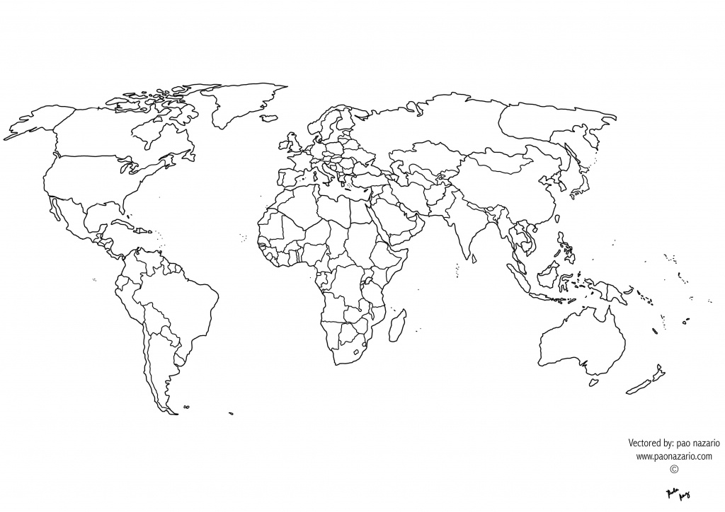 Free Printable Black And White World Map With Countries Best Of - World Map Printable Color