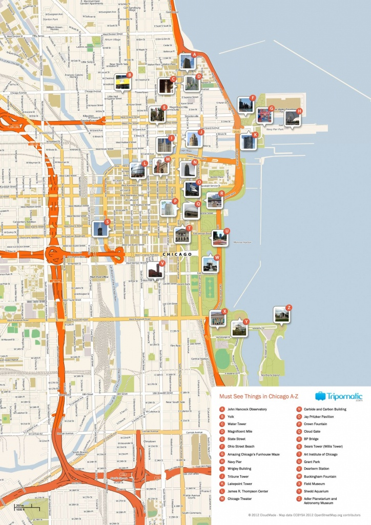 Free Printable Map Of Chicago Attractions. | Free Tourist Maps - Printable Map Of Chicago