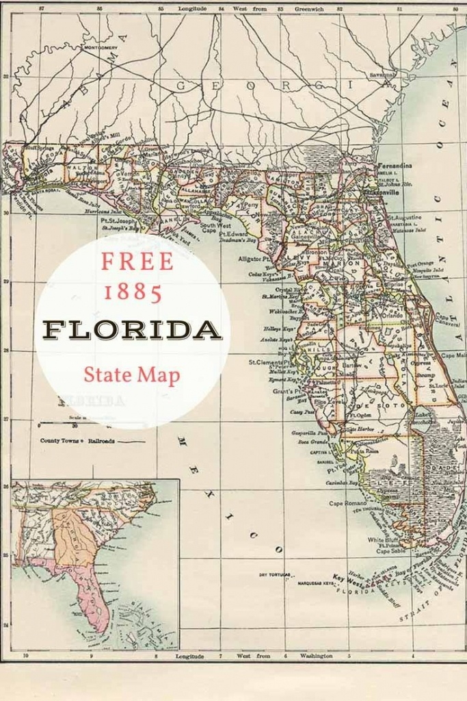 Free Printable Old Map Of Florida From 1885. #map #usa | Maps And - Free Florida Map
