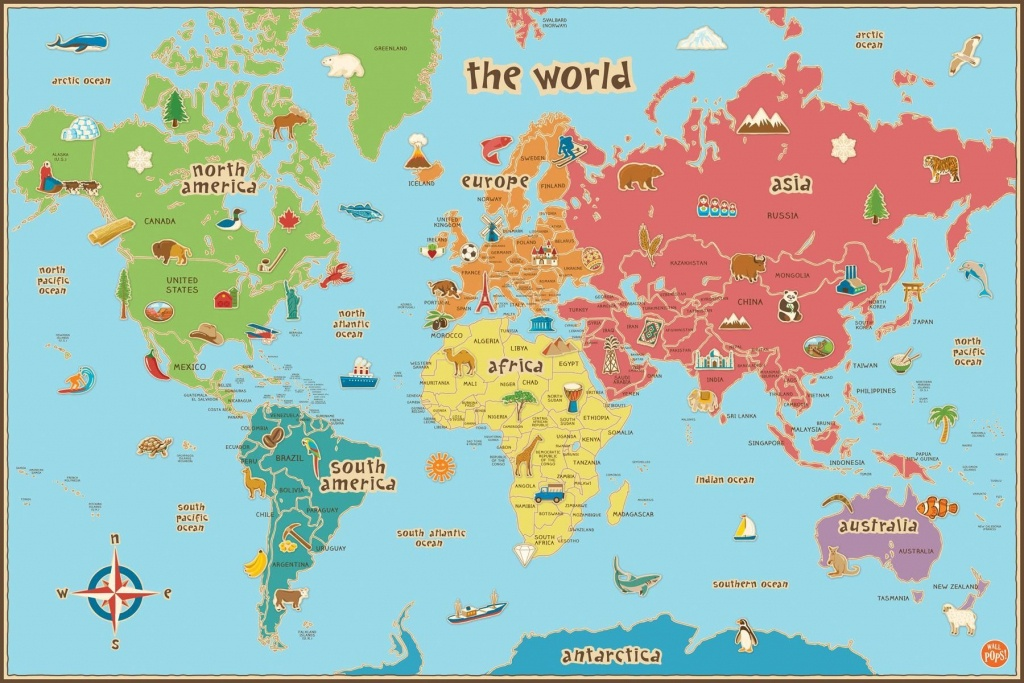 Free Printable World Map For Kids Maps And | Gary's Scattered Mind - Printable World Map With Countries For Kids