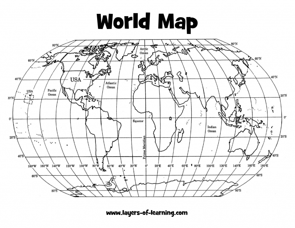 Free Printables | Learning Printables | Teaching Maps, Middle School - Map Of World Latitude Longitude Printable