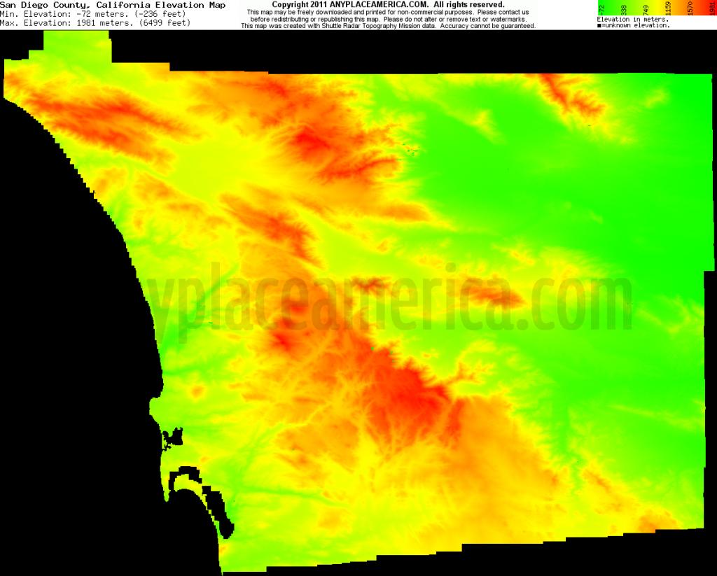 Free San Diego County, California Topo Maps & Elevations - California Topographic Map Elevations