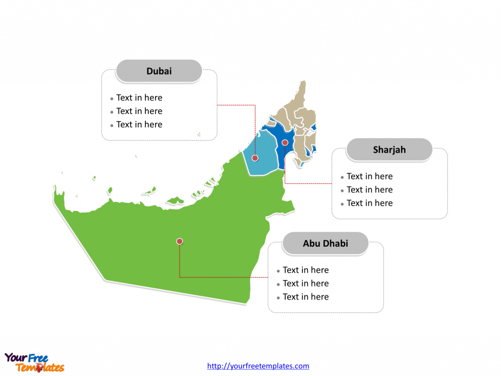 Free United Arab Emirates Editable Map - Free Powerpoint Templates - Outline Map Of Uae Printable