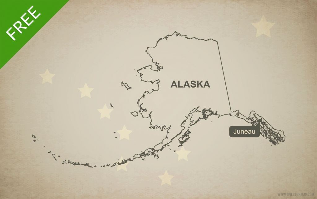 Free Vector Map Of Alaska Outline | One Stop Map - Alaska State Map Printable