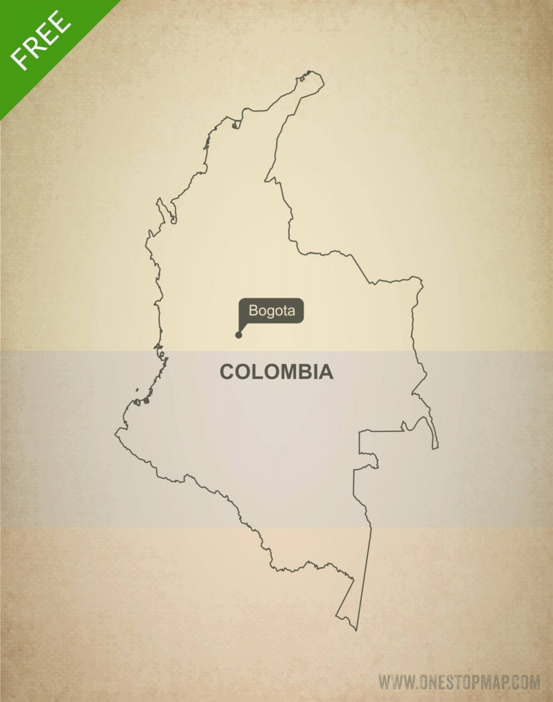 Free Vector Map Of Colombia Outline | One Stop Map - Printable Map Of Colombia