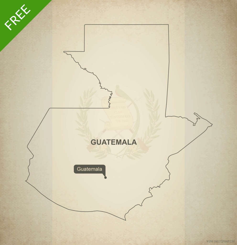 Free Vector Map Of Guatemala Outline | One Stop Map - Printable Map Of Guatemala