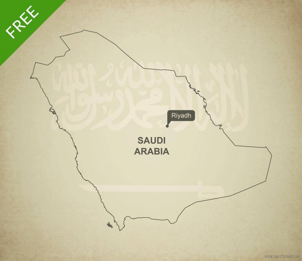 Free Vector Map Of Saudi Arabia Outline | One Stop Map - Printable Map Of Saudi Arabia