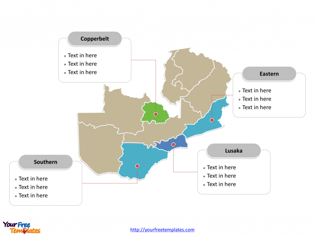Free Zambia Editable Map - Free Powerpoint Templates - Printable Map Of Lusaka