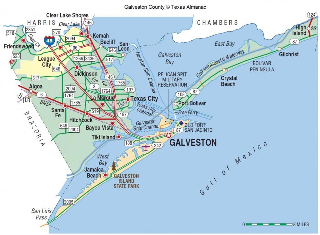 Galveston County | The Handbook Of Texas Online| Texas State - Texas Gulf Coast Beaches Map