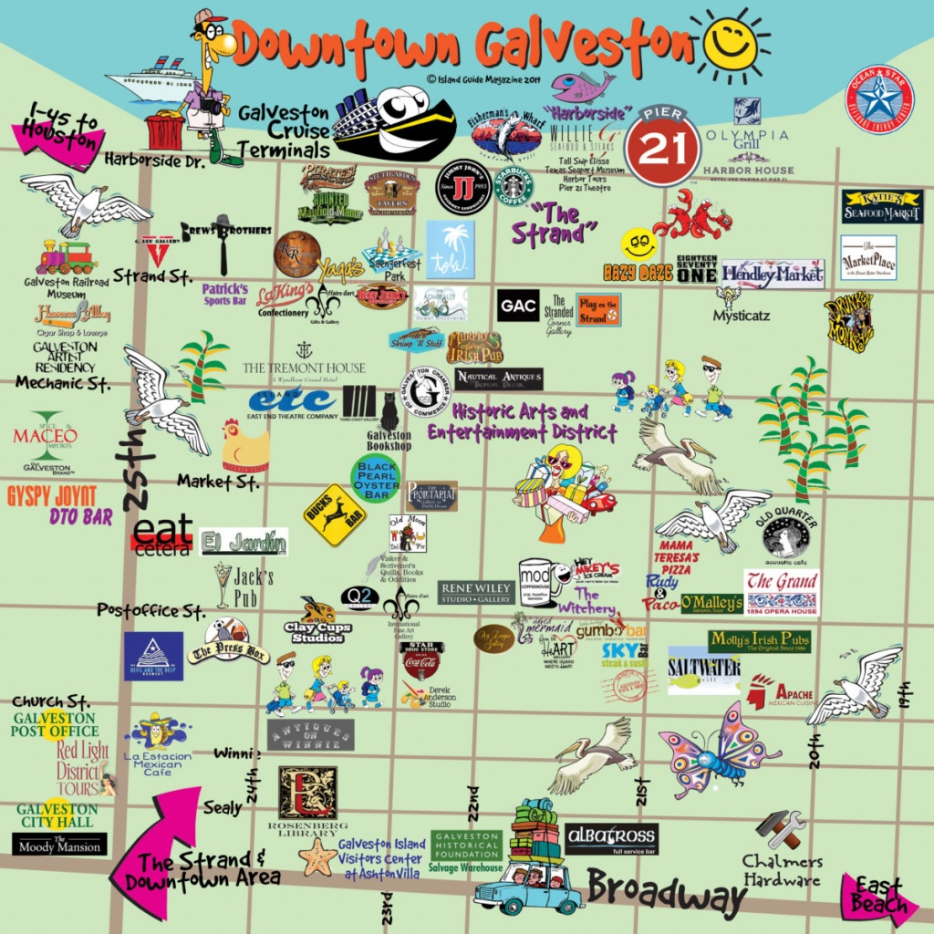 Galveston, Tx - Galveston Fun Maps - Galveston Island Guide - Texas Galveston Map