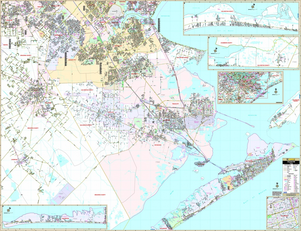 Galveston, Tx Wall Map - Maps - Texas Galveston Map