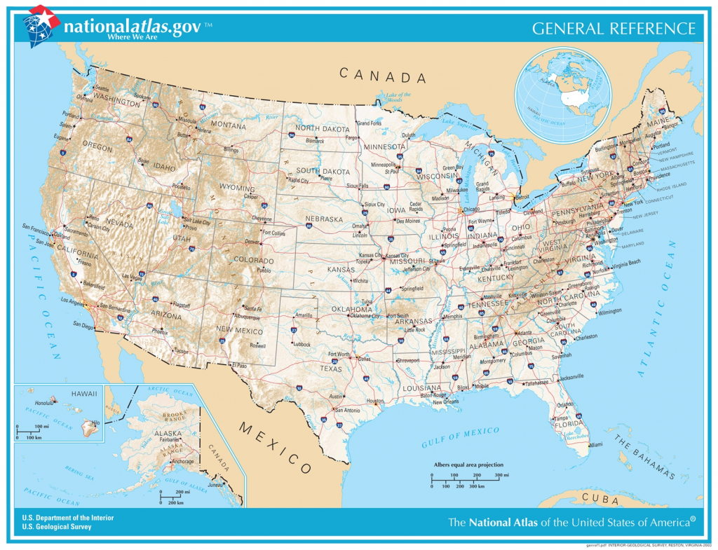 General Reference Printable Map - National Atlas Printable Maps