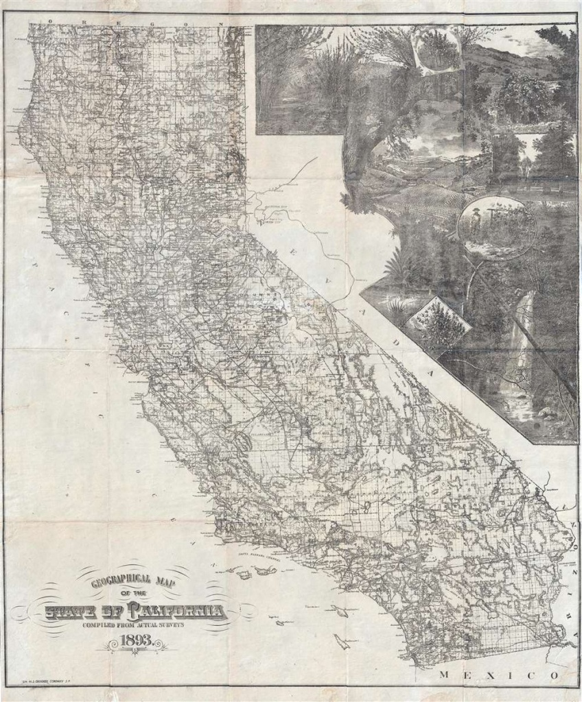 Geographical Map Of The State Of California Compiled From Actual - California Maps For Sale