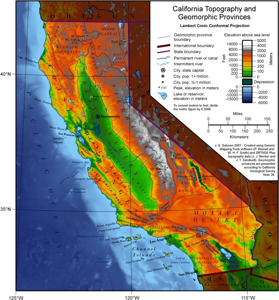 Geography Of California - Wikipedia - Baja California Topographic Maps