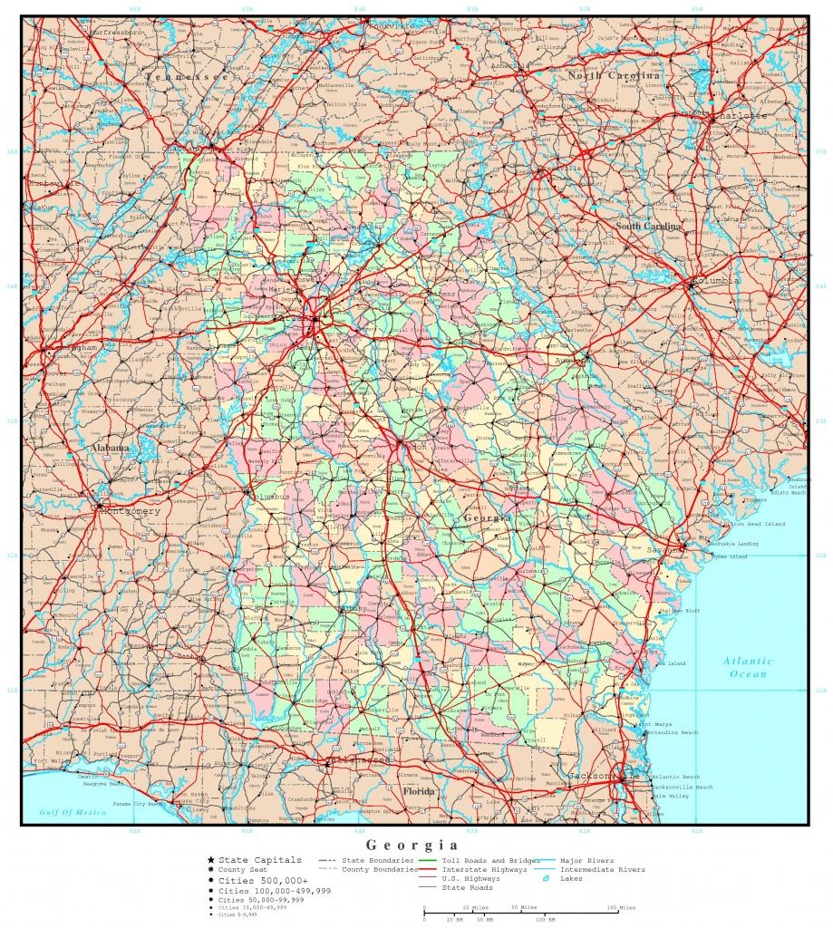Georgia Florida Map Roads And Travel Information   Download Free - Road Map Of Georgia And Florida