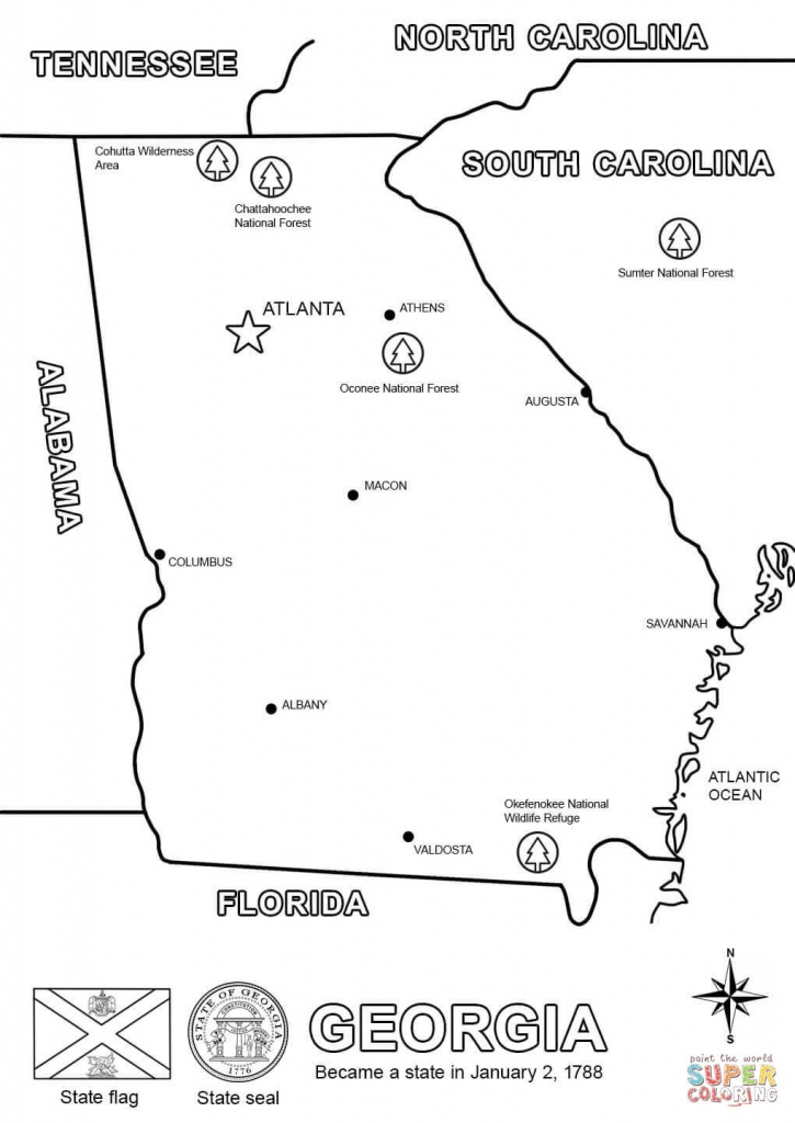 Georgia Map Coloring Page | Free Printable Coloring Pages - Georgia State Map Printable