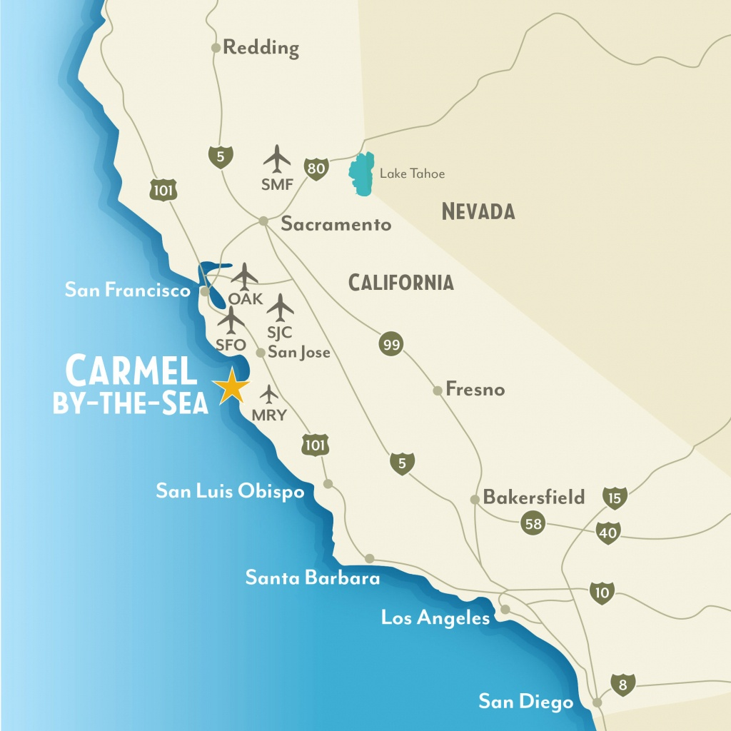 Getting To & Around Carmel-By-The-Sea, California - California Things To Do Map