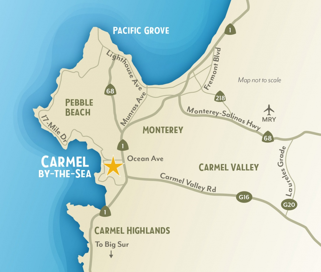 Getting To & Around Carmel-By-The-Sea, California - Monterey Beach California Map