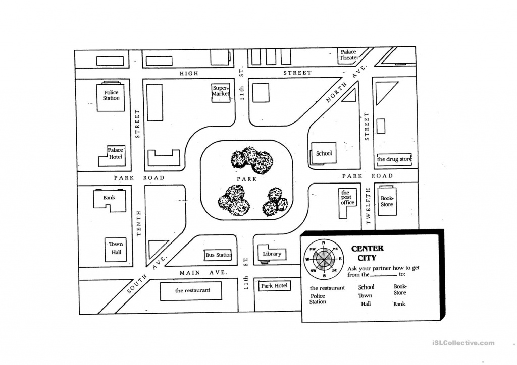 Giving Directions Student Map Worksheet - Free Esl Printable - Free Printable Maps And Directions