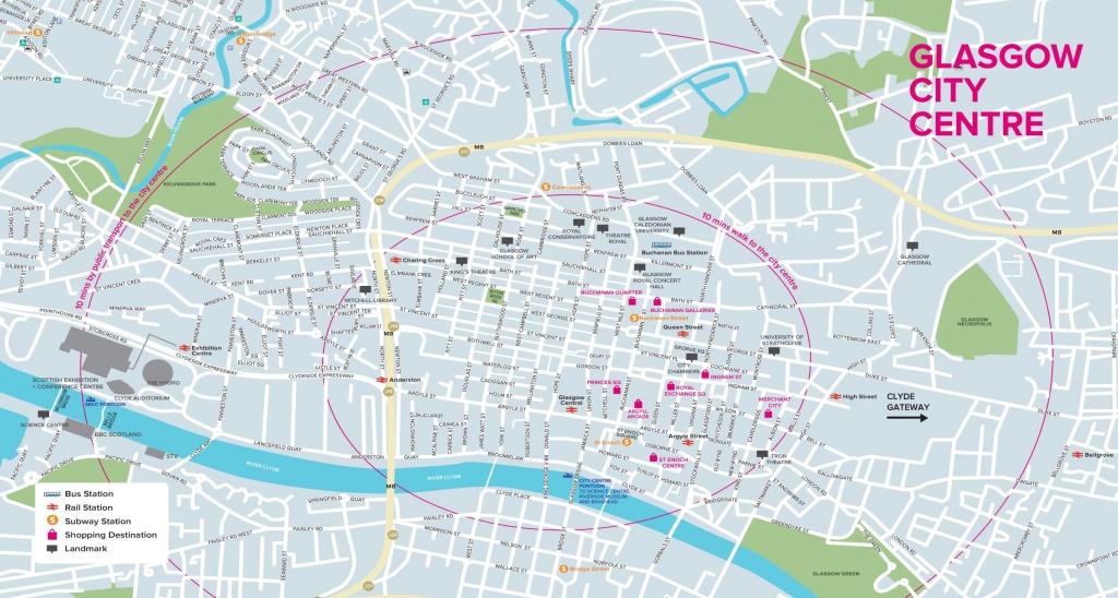 Glasgow Tourist Map - Glasgow City Map Printable