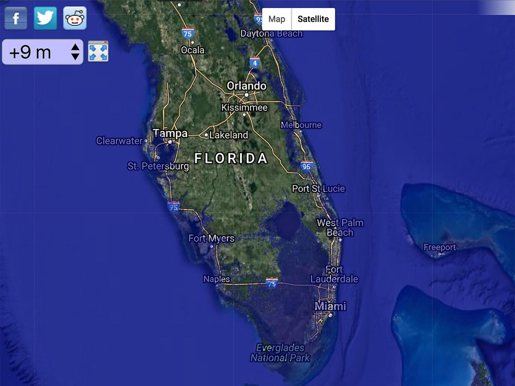 Global Warming Could Cause Sea Levels To Rise Higher Than The Height - Florida Water Rising Map