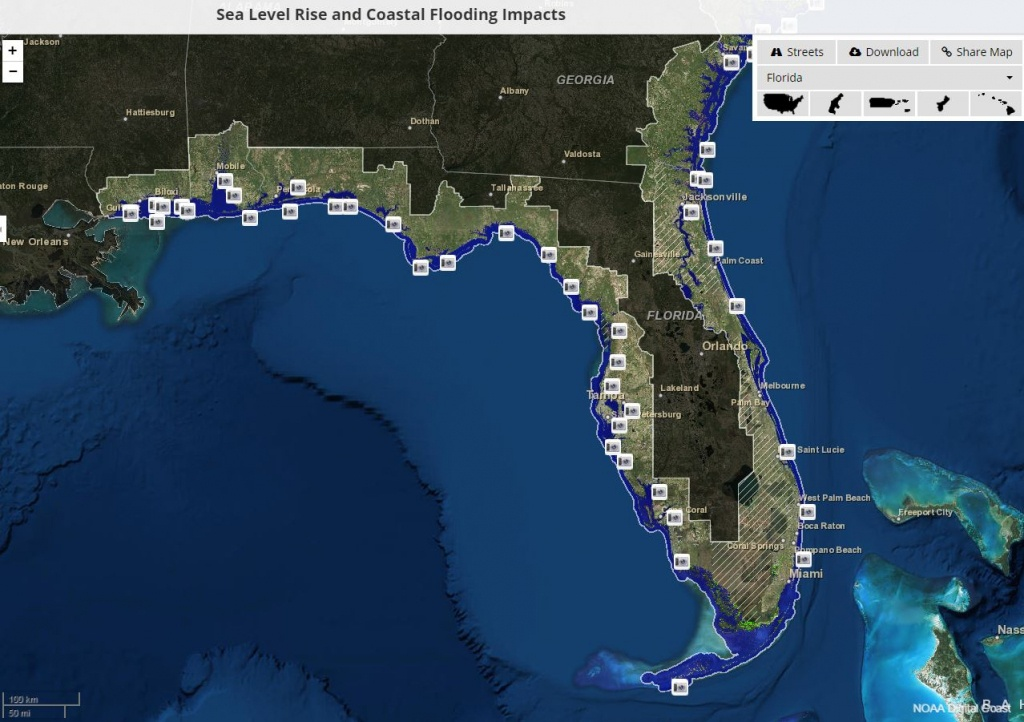 Global Warming Florida Map | Map North East - Florida Global Warming Flood Map