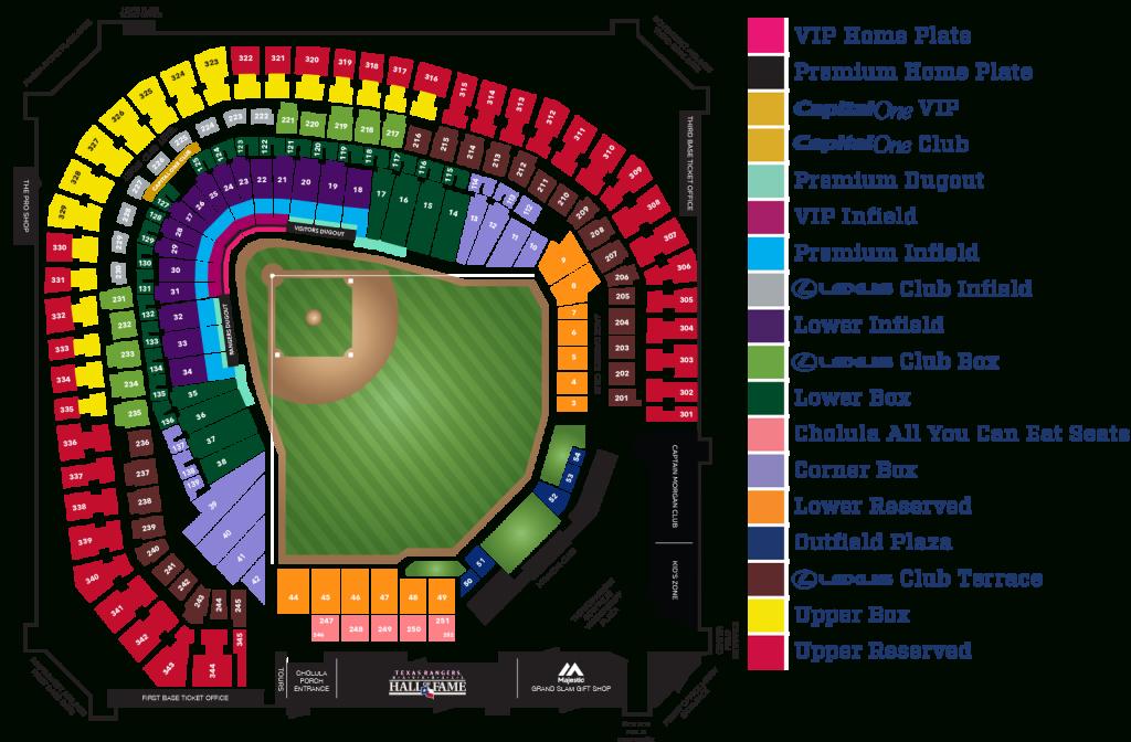 Globe Life Park Seating Map | Mlb | Random Things I'd Want To - Texas Rangers Stadium Parking Map
