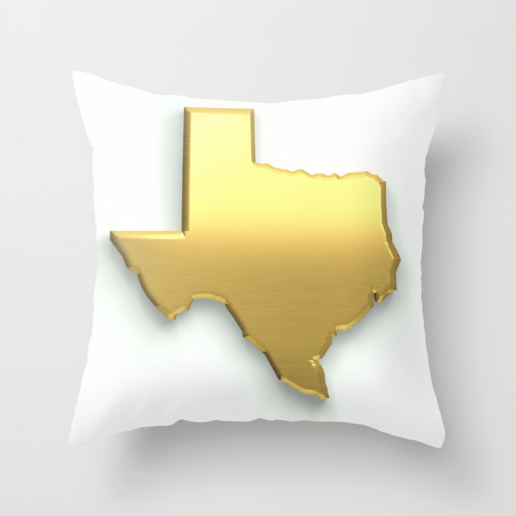 Golden Texas Map Throw Pillowlovefriendlydesigns | Society6 - Texas Map Pillow
