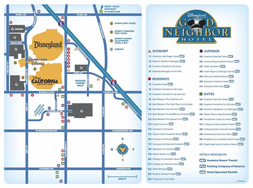 Good Neighbor Hotels Map | Disneyland Resort/hotel Maps-Great For - Map Of Hotels Around Disneyland California