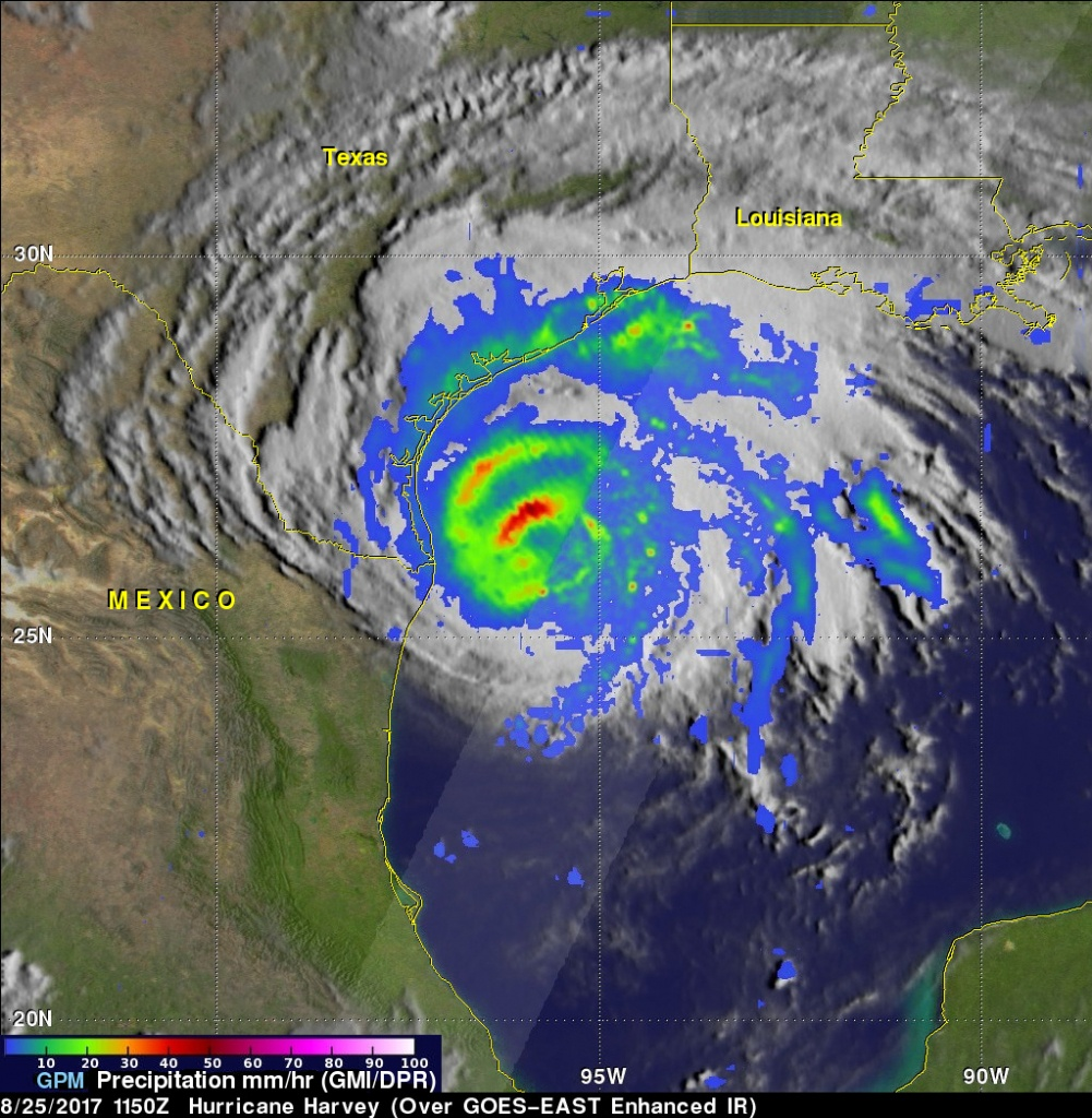 Gpm's Radar Measures Intense Rain In Hurricane Harvey | Nasa Earth - Texas Satellite Weather Map