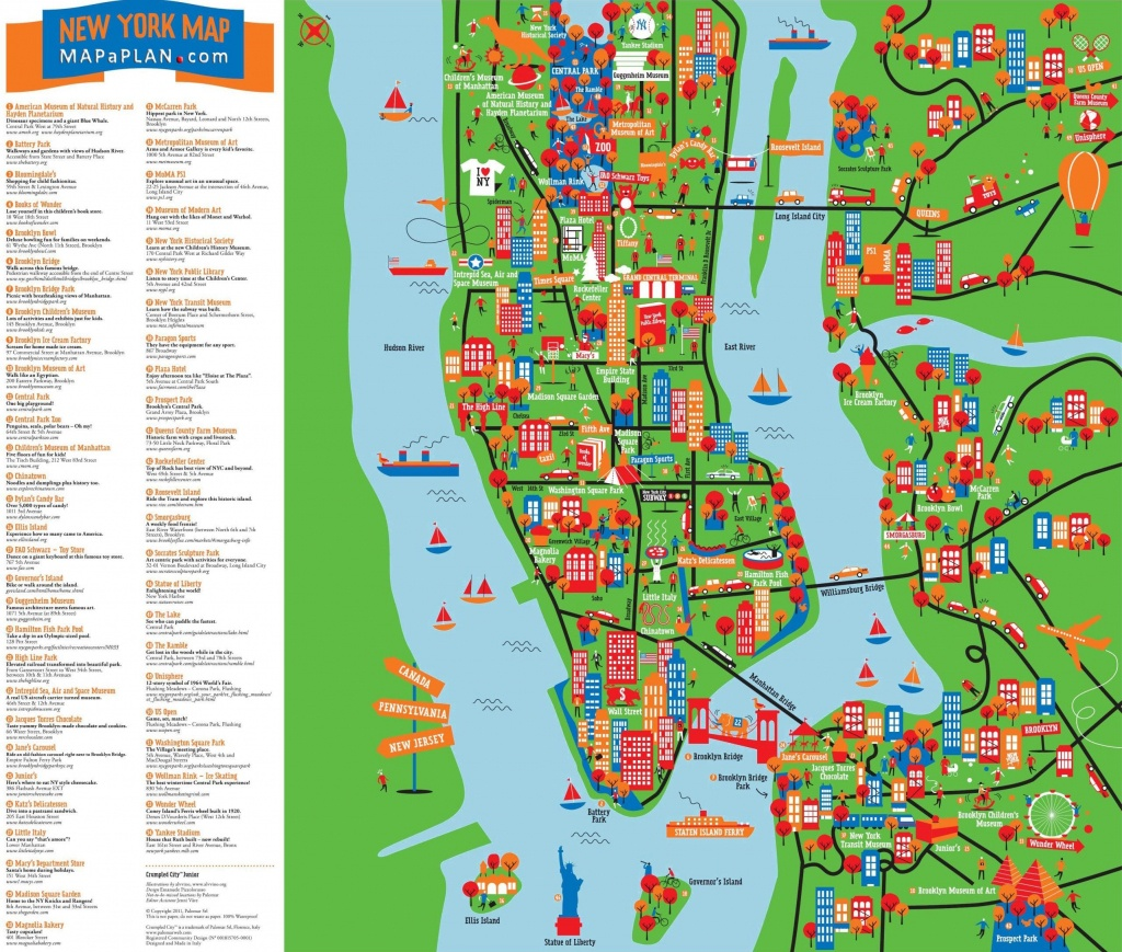 Great-Things-To-Do-With-Kids-Children-Interactive-Colorful-New-York - Nyc Tourist Map Printable